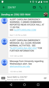 Text messages sent by Alert Carolina. Note the incorrect URL in the topmost message.