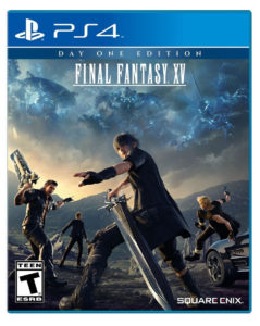 Final Fantasy XV box art - 4 heroes standing in a field with menacing clouds overhead