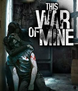 This War of Mine's box art - a person attacking someone else from behind in a bombed-out building
