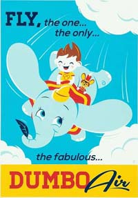 Dumbo poster - a child rides on Dumbo