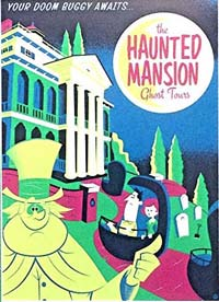 Haunted Mansion poster - two passengers enter the mansion