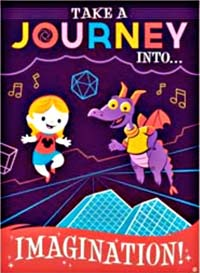 Journey into Imagination poster - a child and Figment