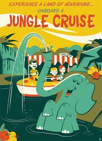 Jungle Cruise poster - a boat and an elephant