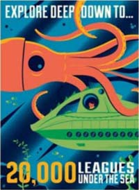 20000 Leagues poster - a squid and a submarine