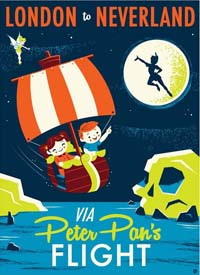 Peter Pan's Flight poster - a flying ship over Neverland