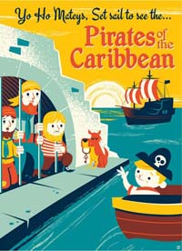 Pirates poster - a child on a boat and a dog with a key