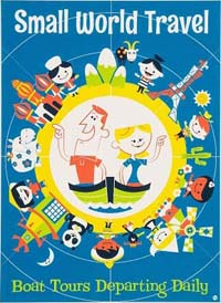 Small World poster - two adults on a boat surrounded by children