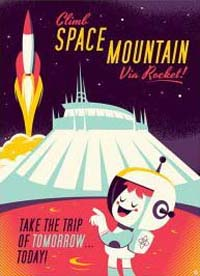 Space Mountain poster - a rocket lifting off