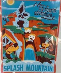 Splash Mountain poster - children on a log flume