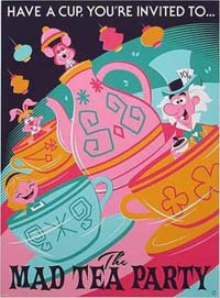 Teacups poster - Alice and the mad hatter in teacups