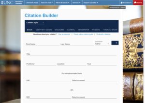 Screenshot of UNC Libraries' Citation Builder