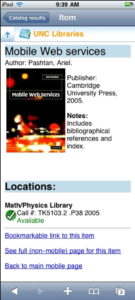 Screenshot of an item in the mobile catalog