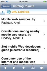 Screenshot of mobile catalog search results