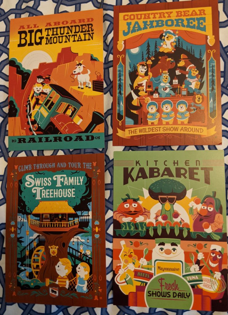 four postcards by Dave Perillo: Big Thunder Mountain, Country Bear Jamboree, Swiss Family Treehouse, and Kitchen Kabaret